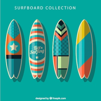 Collection of surfboard with abstract drawings