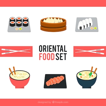 Collection of tasty oriental dishes