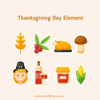 Collection of thanksgiving typical elements