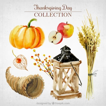 Collection of thanksgiving watercolor elements