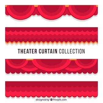 Collection of theater curtains in flat design