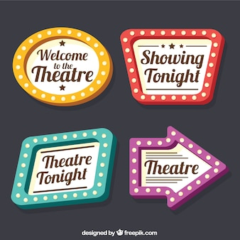 Collection of theater signs with different designs