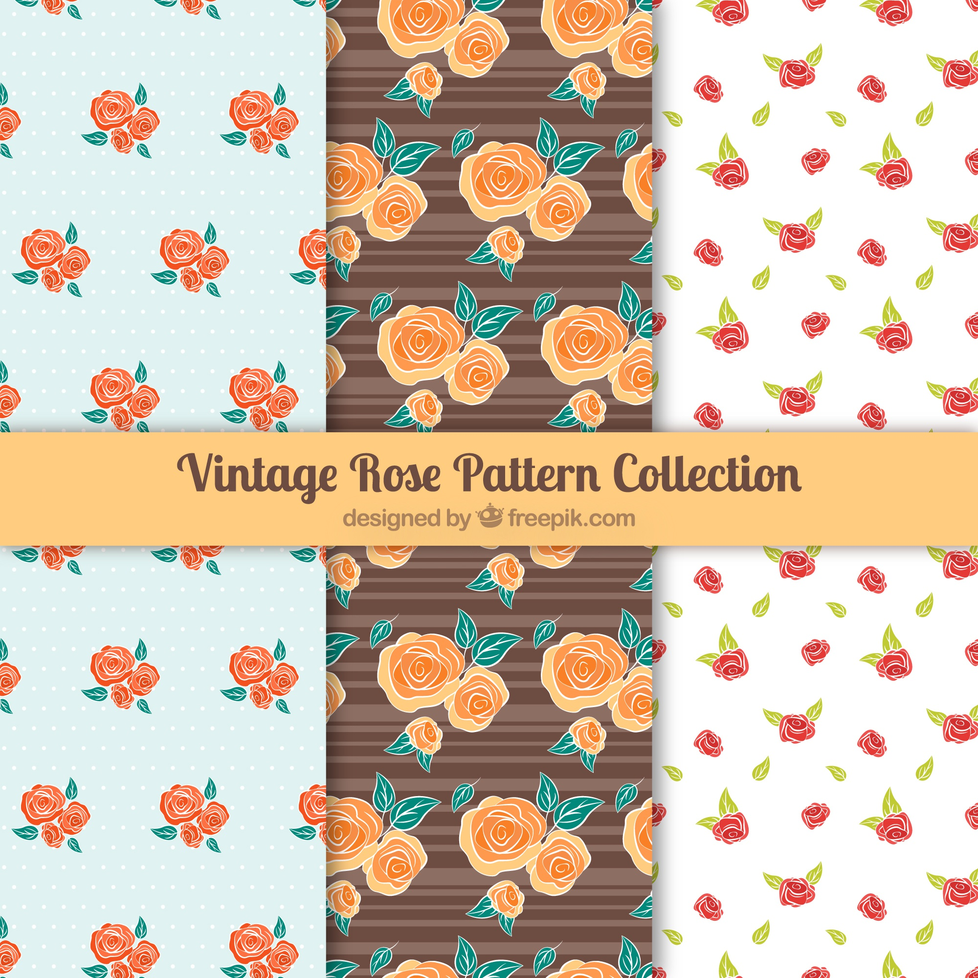 Collection of three patterns with colored roses