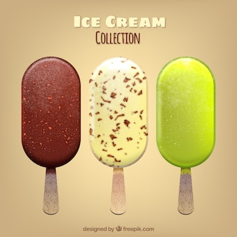 Collection of three realistic ice creams