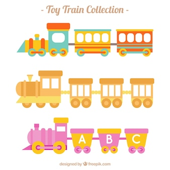 Collection of toy trains with cute designs