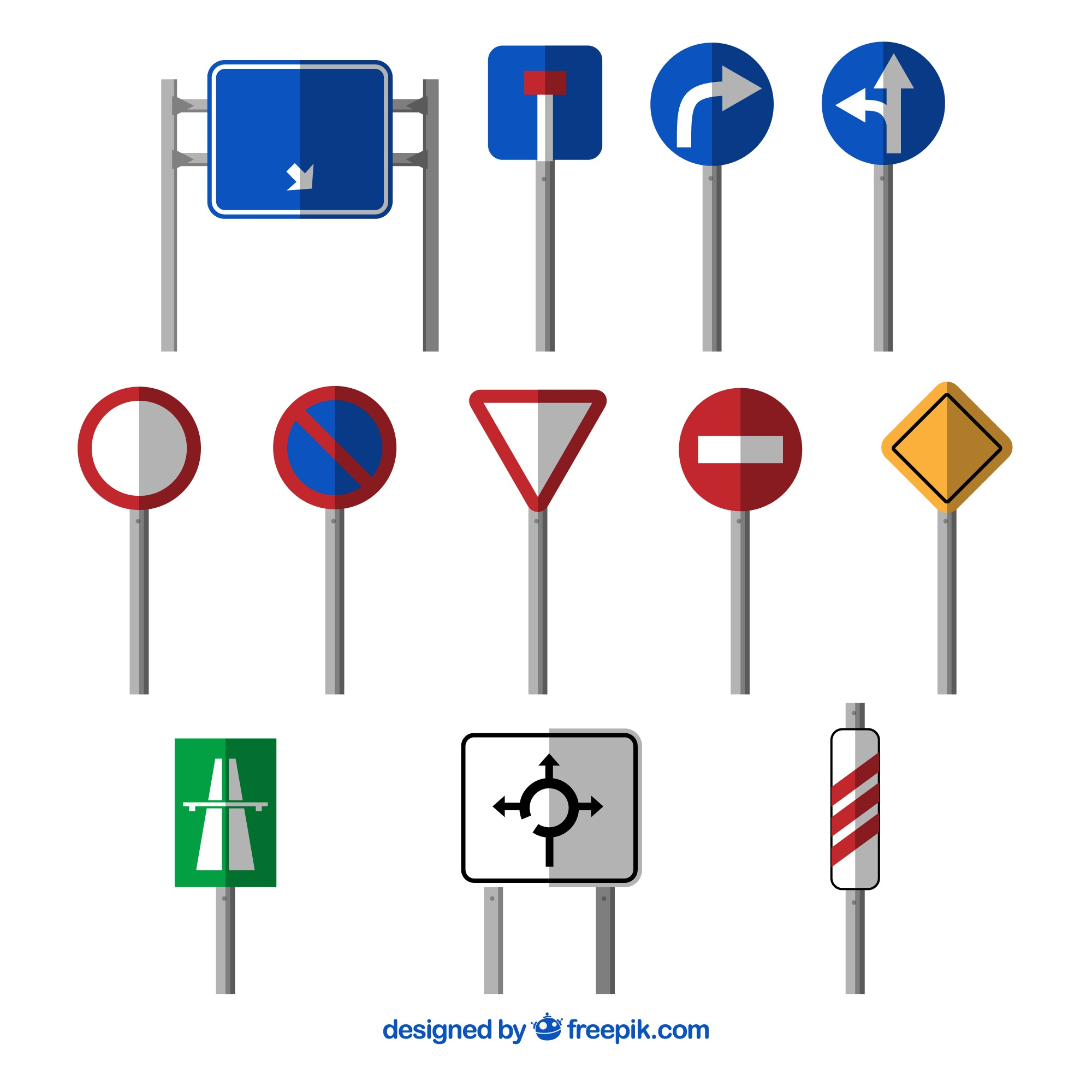 Collection of traffic sign in flat design