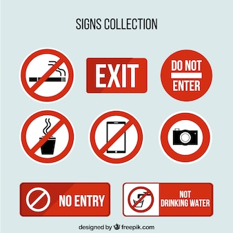 Collection of traffic signs in flat design