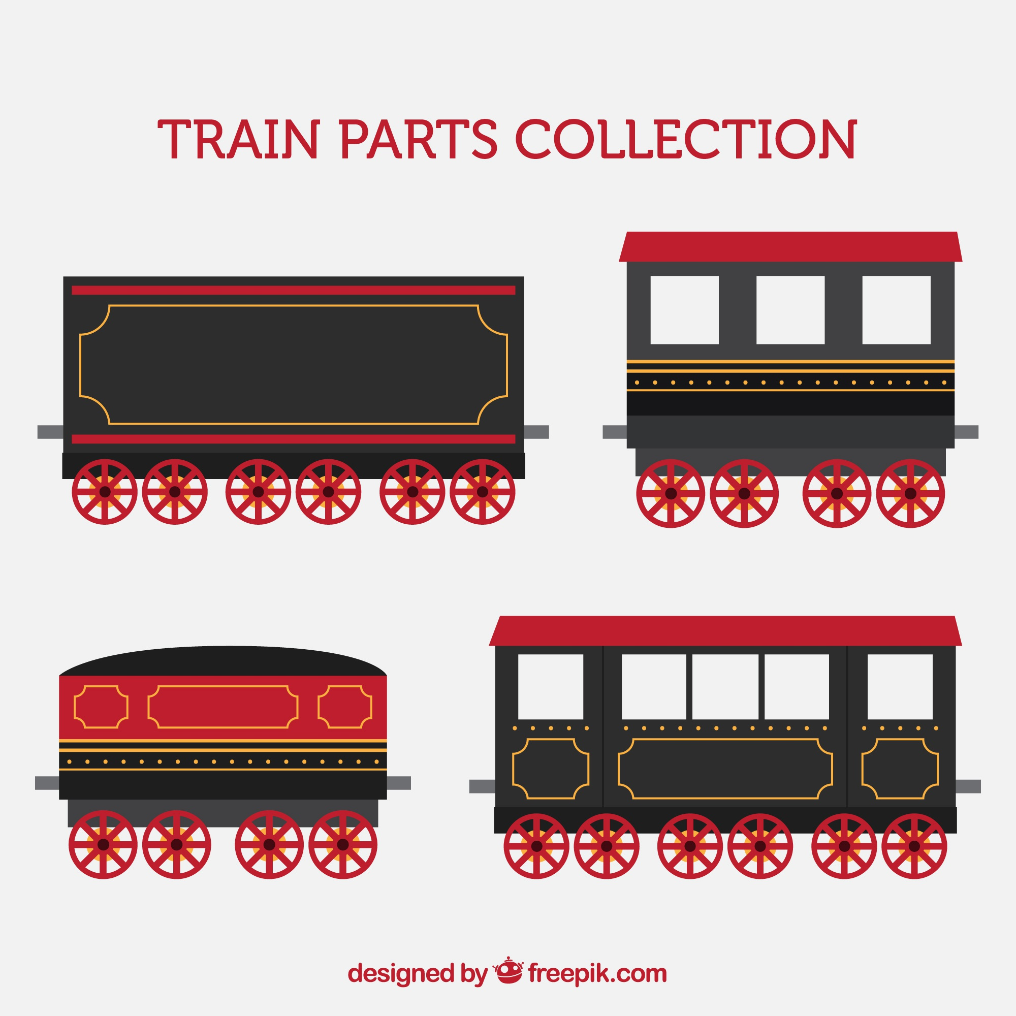 Collection of train parts with red details