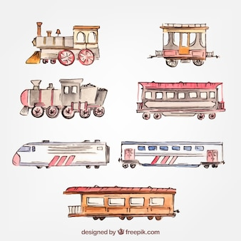 collection of trains in watercolor style