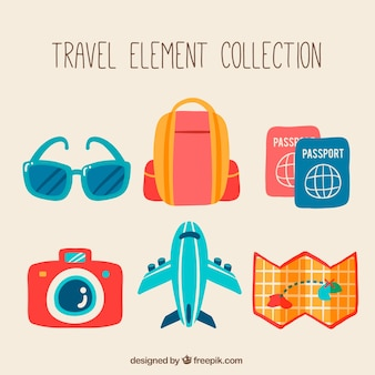 Collection of travel element in retro style