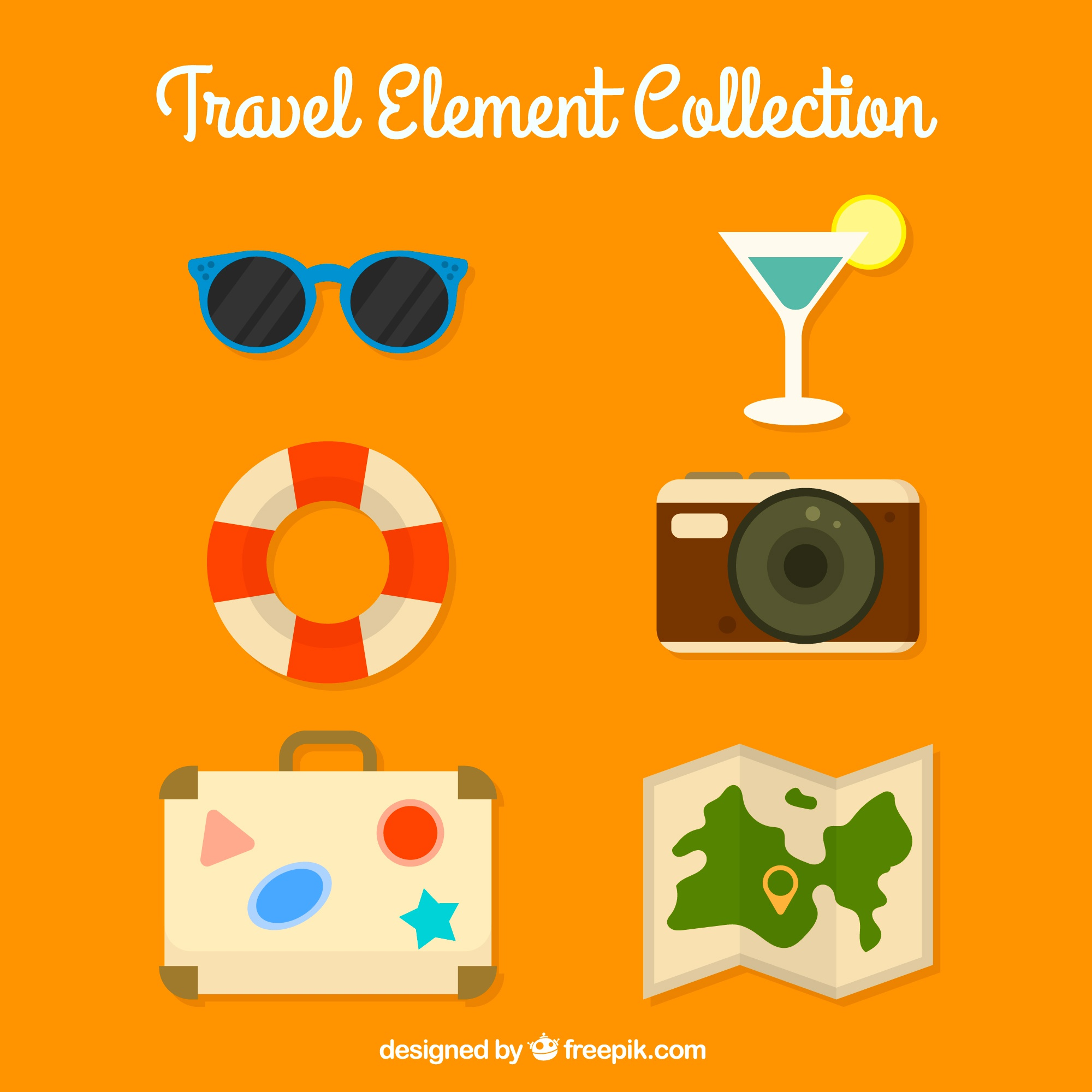 Collection of travel elements in flat design
