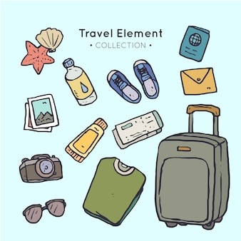 Collection of travel object drawing