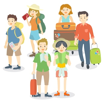 Collection of travelling people