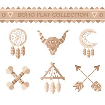 Collection of tribal elements in flat design