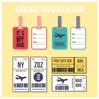 Collection of trip tag in flat design