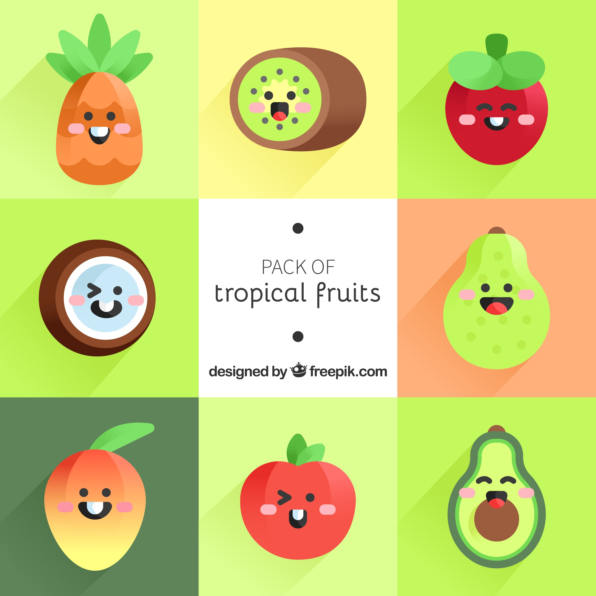 Collection of tropical fruit characters