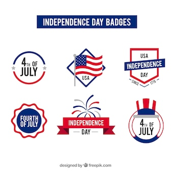 Collection of usa independence day badges