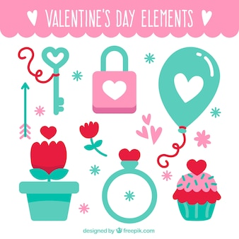 Collection of valentine items in pastel colors