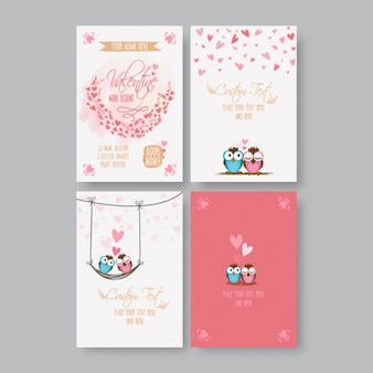 Collection of valentine's cards with cute owls
