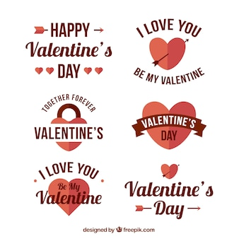 Collection of valentine's stickers in vintage style
