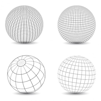 Collection of various designs of wireframe globes