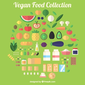 Collection of vegan food in flat design