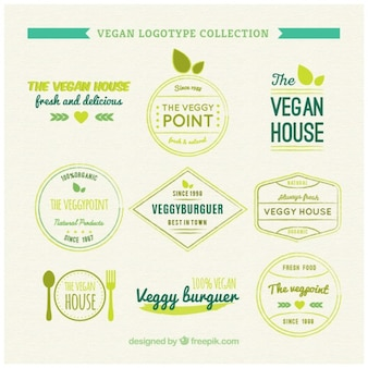 Collection of vegan logotype in vintage style
