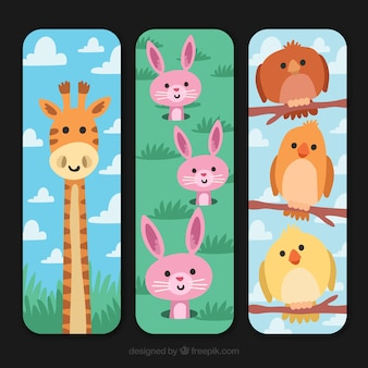 Collection of vertical cards with animals