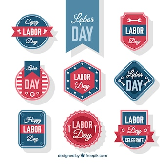 Collection of vintage badges for labor day