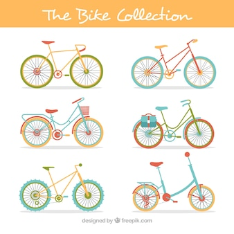 Collection of vintage bikes in flat design