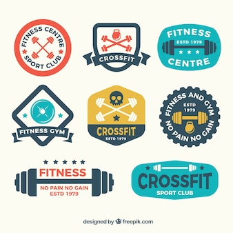 Collection of vintage crossfit stickers in flat design