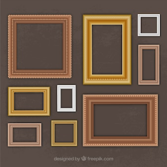 Collection of vintage frames in different sizes