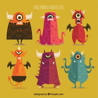 Collection of vintage halloween monsters in design