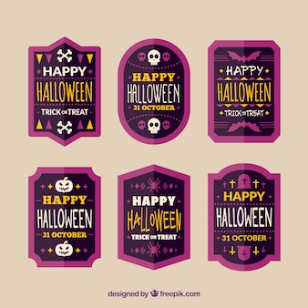 Collection of vintage halloween stickers in flat design