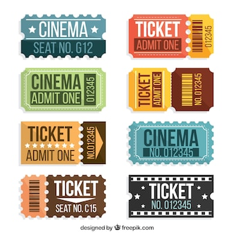 Collection of vintage movie tickets