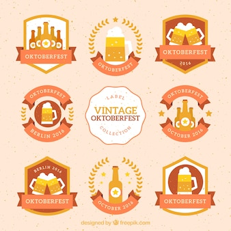 Collection of vintage oktoberfest stickers