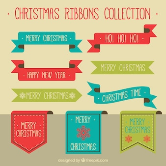 Collection of vintage ornamental christmas ribbons