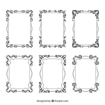 Collection of vintage ornamental frames