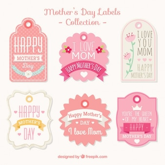 Collection of vintage pink mother's day label