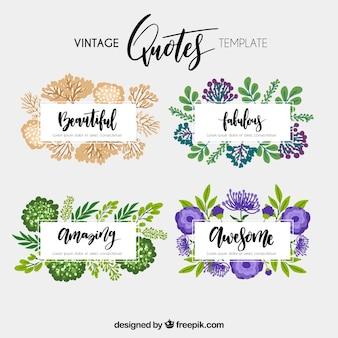 Collection of vintage quote template with flowers