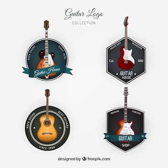Collection of vintage style guitars logos
