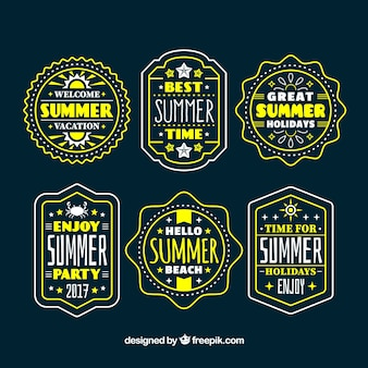 Collection of vintage summer stickers with messages
