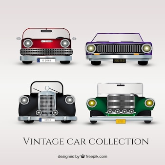 Collection of vintage vehicles in flat design