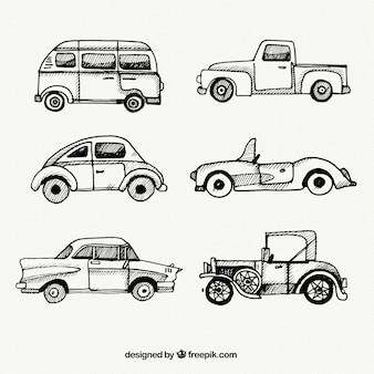 Collection of vintage vehicles sketches