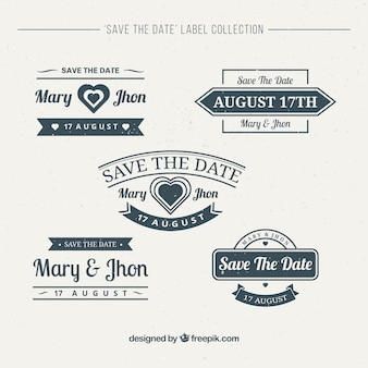 Collection of vintage wedding stickers