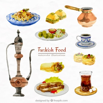 Collection of watercolor arabic food