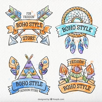 Collection of watercolor boho decorative stickers