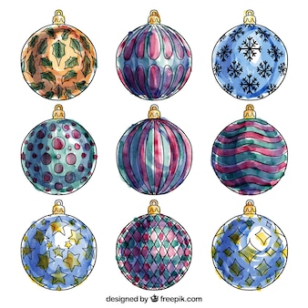 Collection of watercolor christmas balls