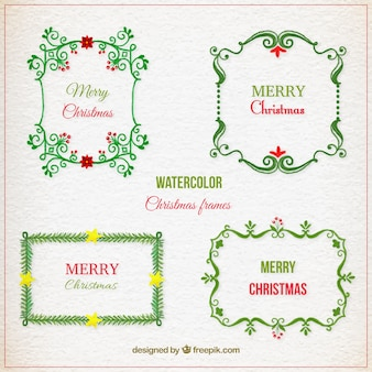 Collection of watercolor christmas frames