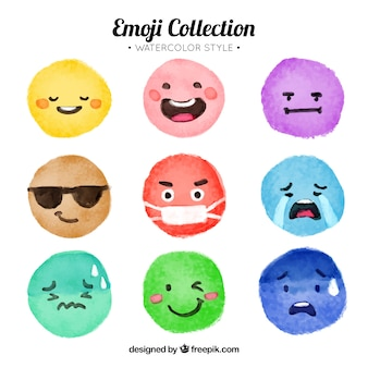Collection of watercolor colored emoticons